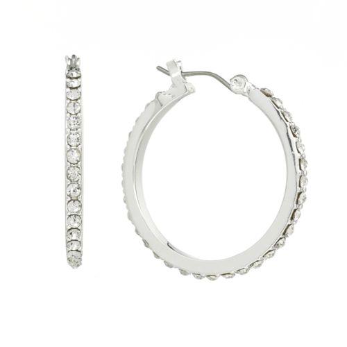 Chaps Silver Tone Simulated Crystal Hoop Earrings