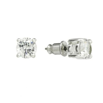 Chaps Silver Tone Simulated Crystal Stud Earrings