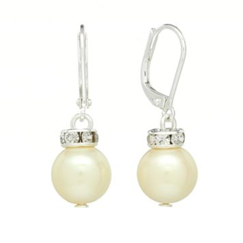 Chaps Silver Tone Simulated Pearl & Simulated Crystal Drop Earrings