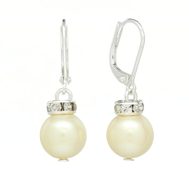 Chaps Silver Tone Simulated Pearl and Simulated Crystal Drop Earrings