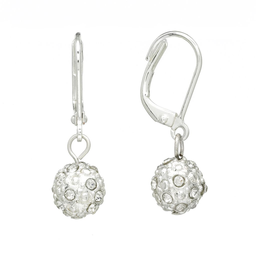 Chaps Silver Tone Simulated Crystal Drop Earrings