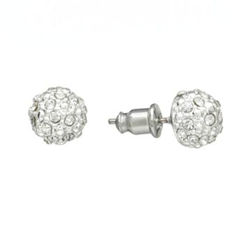 Chaps Silver Tone Simulated Crystal Ball Stud Earrings