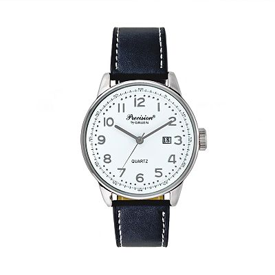 Precision by Gruen Silver Tone Leather Watch - Men