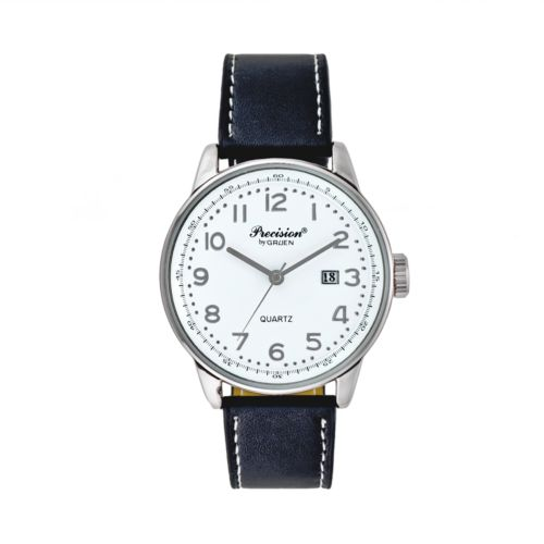 Precision by Gruen Silver Tone Leather Watch - Men