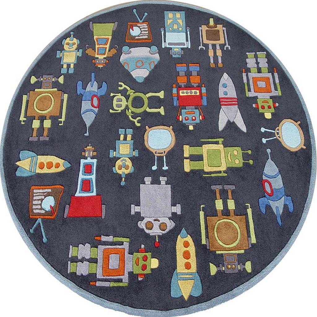 Momeni Lil Mo Whimsy Robot Rug - 5' Round