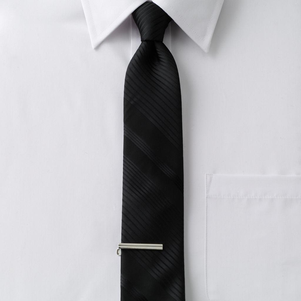 Apt. 9® Tonal-Striped Skinny Tie with Tie Bar