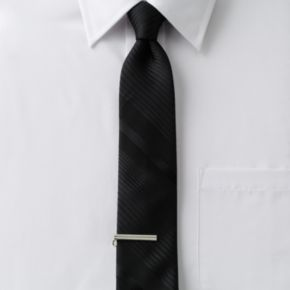 Men's Apt. 9® Tonal-Striped Skinny Tie with Tie Bar