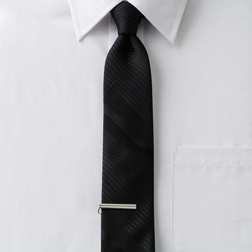 Men's Apt. 9® Tonal-Striped Skinny Tie with Tie Bar
