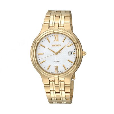 Seiko Solar Stainless Steel Gold Tone Watch - Men