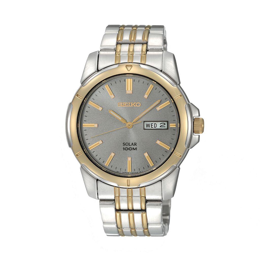 Seiko Men's Two Tone Stainless Steel Solar Watch - SNE098