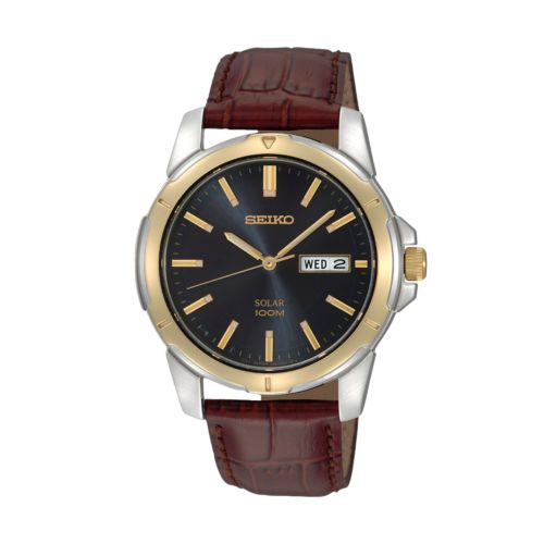 Seiko Solar Stainless Steel Two Tone Leather Watch - Men
