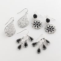 Mudd® Silver Tone Filigree Teardrop, Floral Drop & Chandelier Earring Set