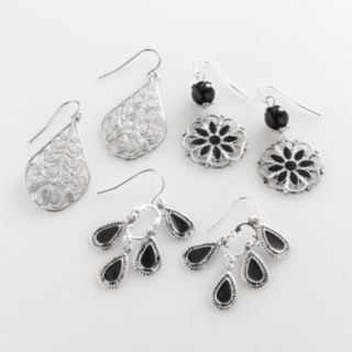 Mudd® Silver Tone Filigree Teardrop, Floral Drop and Chandelier Earring Set