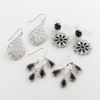 Mudd® Silver Tone Filigree Teardrop, Floral Drop and Chandelier Earring Set
