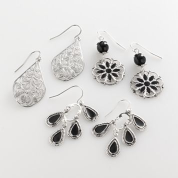 Mudd® Silver Tone Filigree Teardrop, Floral Drop & Chandelier Earring Set