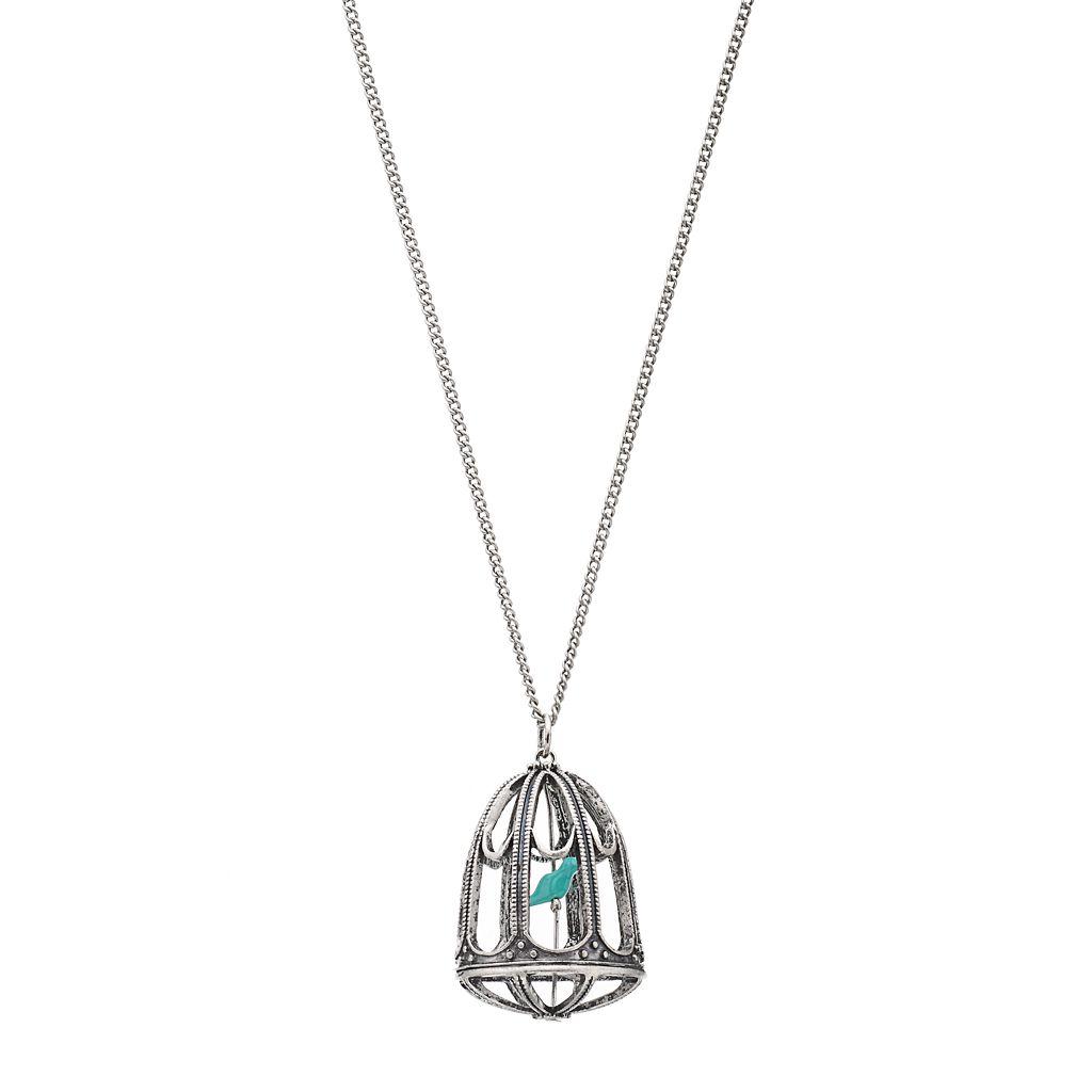Mudd® Silver-Tone Beaded Bird Cage Long Pendant