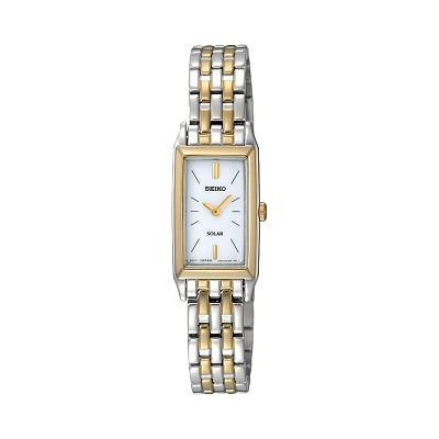 Seiko Solar Stainless Steel Two Tone Watch - Women