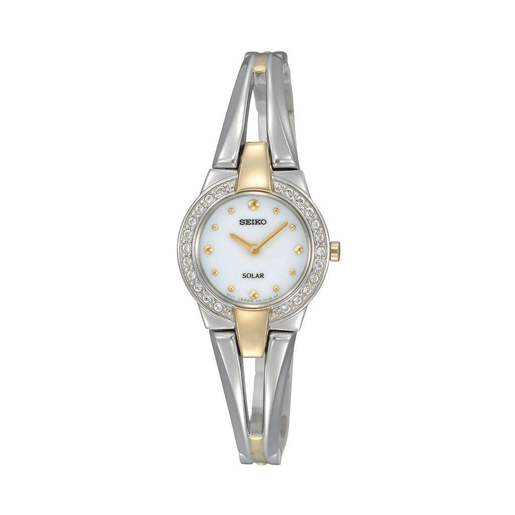 Seiko Women's Tressia Two Tone Stainless Steel Solar Half-Bangle Watch - SUP206