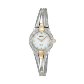 Seiko Women's Tressia Two Tone Stainless Steel Solar Half-Bangle Watch - SUP206