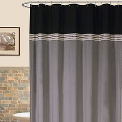 Lush Decor Terra Striped Fabric Shower Curtain Black Blue