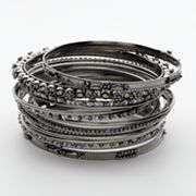 Candie's Jet Textured Bangle Bracelet Set