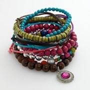 Mudd Silver-Tone Wooden Beaded Bracelet Set