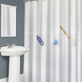 Fabric Shower Curtain Splash Home Easy Pockets