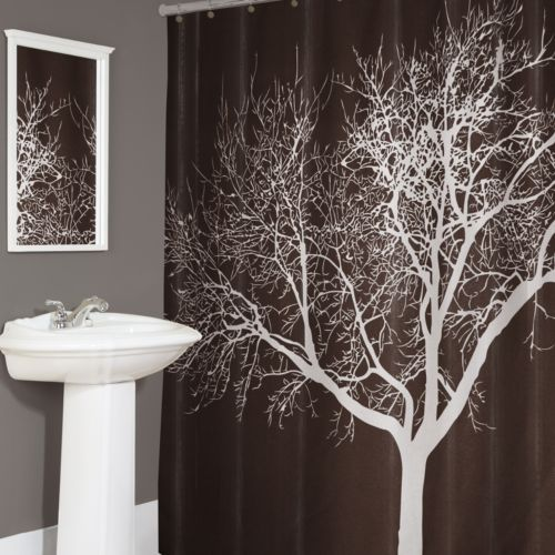 home tree fabric shower curtain