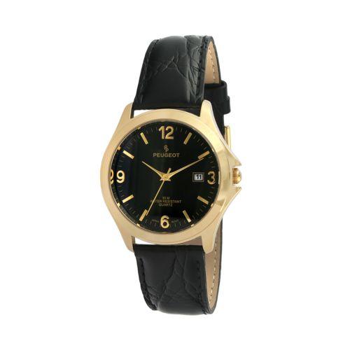 Peugeot Gold Tone Leather Watch - Men