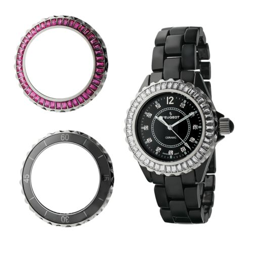 Peugeot Silver Tone and Black Ceramic Crystal Watch Set – Made with Swarovski Elements – Women