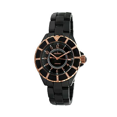 Peugeot Rose Gold Tone and Black Ceramic Crystal Striped Watch - Women
