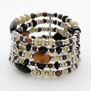 Chaps Silver Tone Beaded Tiger's-Eye Multistrand Stretch Bracelet