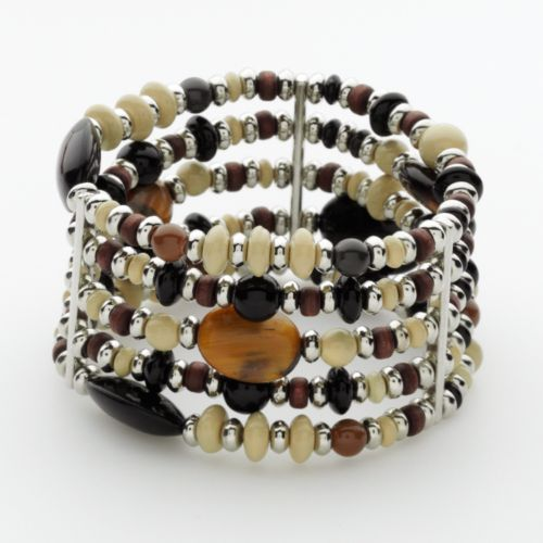 Chaps Silver Tone Beaded Tiger's-Eye Multistrand Stretch Bracelet
