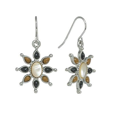 Chaps Silver Tone Tiger's-Eye Drop Earrings