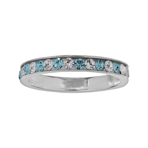 Sterling Silver Blue & White Crystal Ring