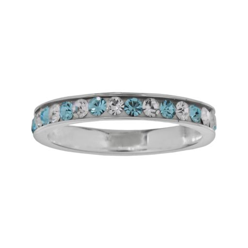 Sterling Silver Blue and White Crystal Ring