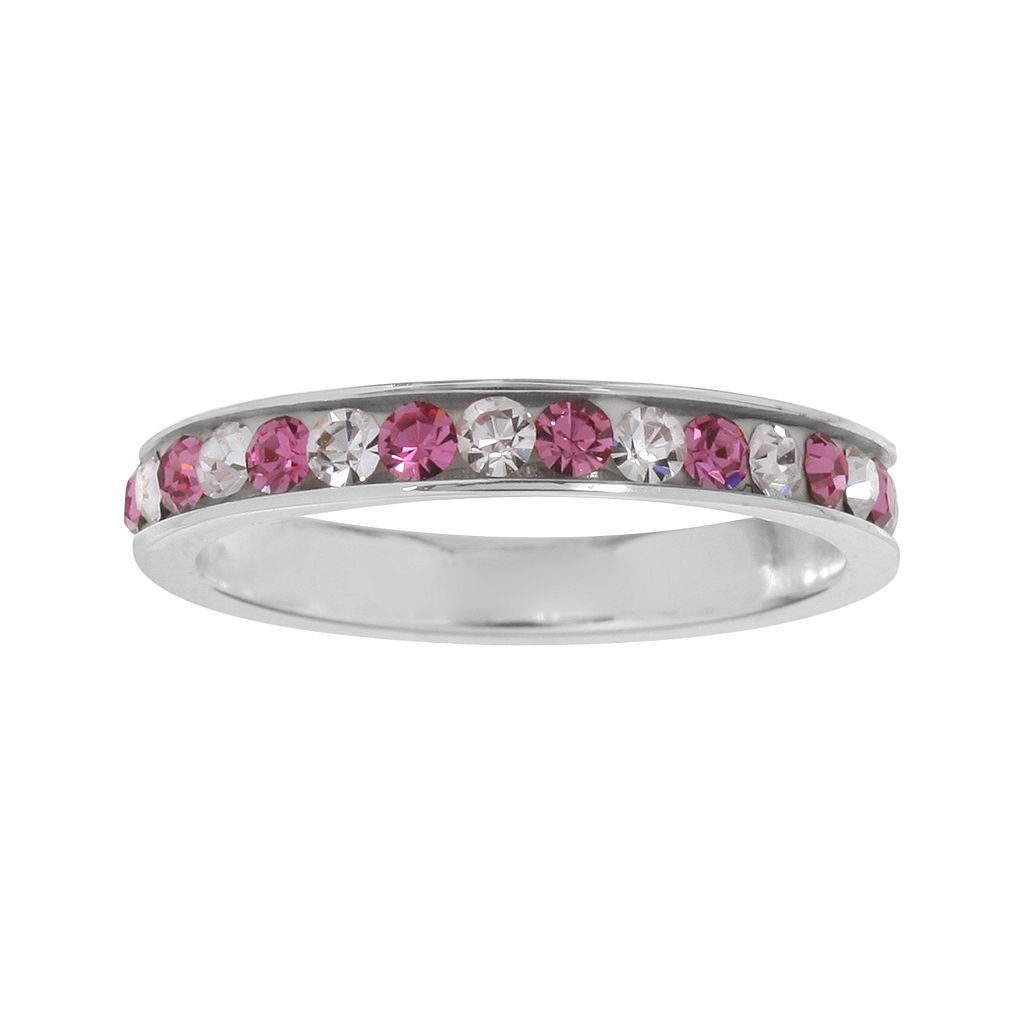 Sterling Silver Pink & White Crystal Ring