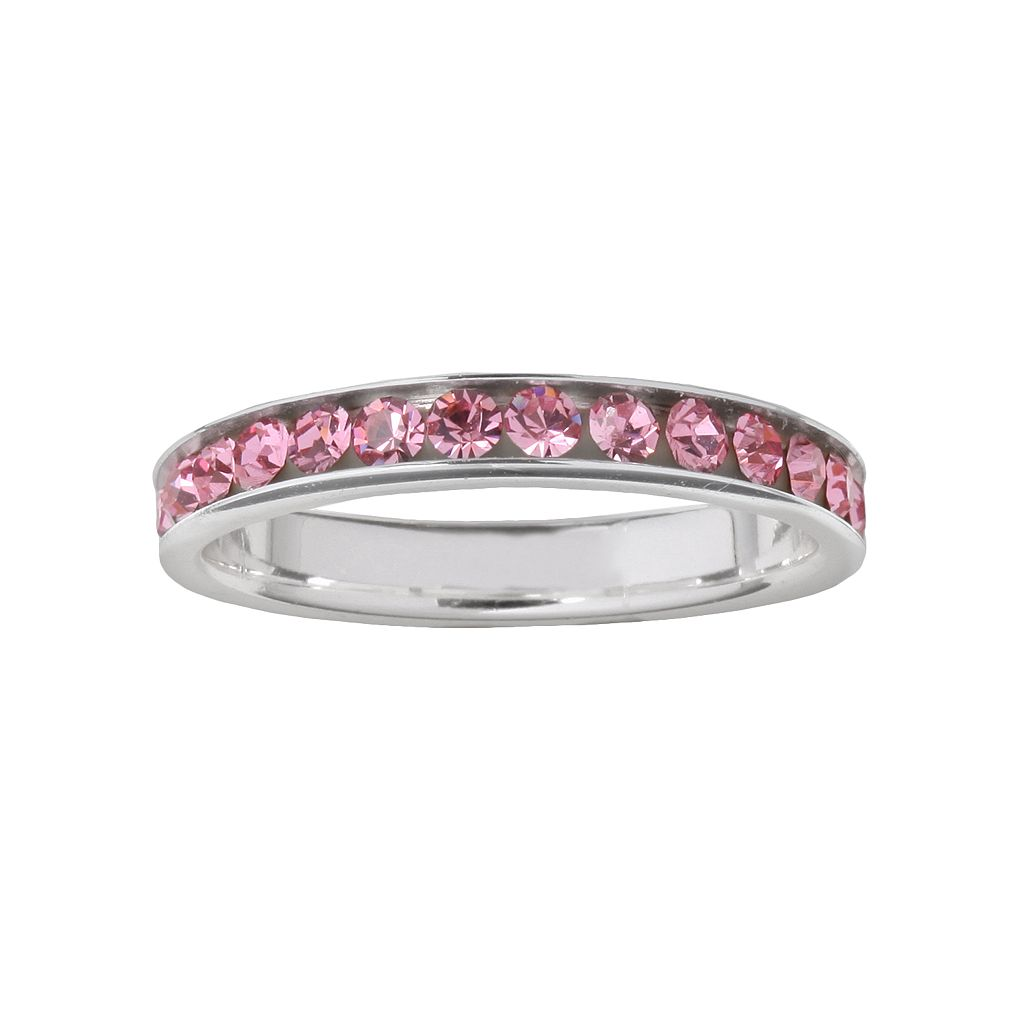 Sterling Silver Pink Crystal Ring