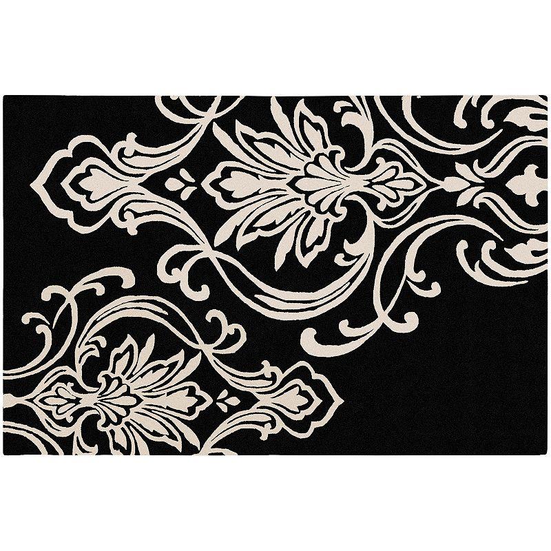 Decor 140 Modern Classics Damask Wool Blend Rug, Black, 5X8 Ft