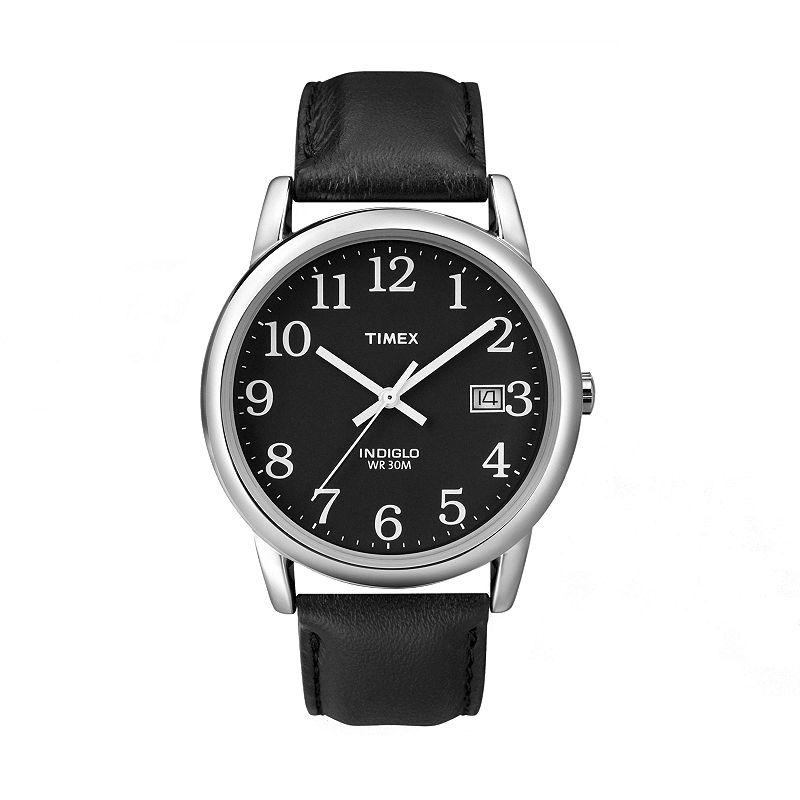 Timex Easy Reader Silver Tone Leather Watch - Men (Black)