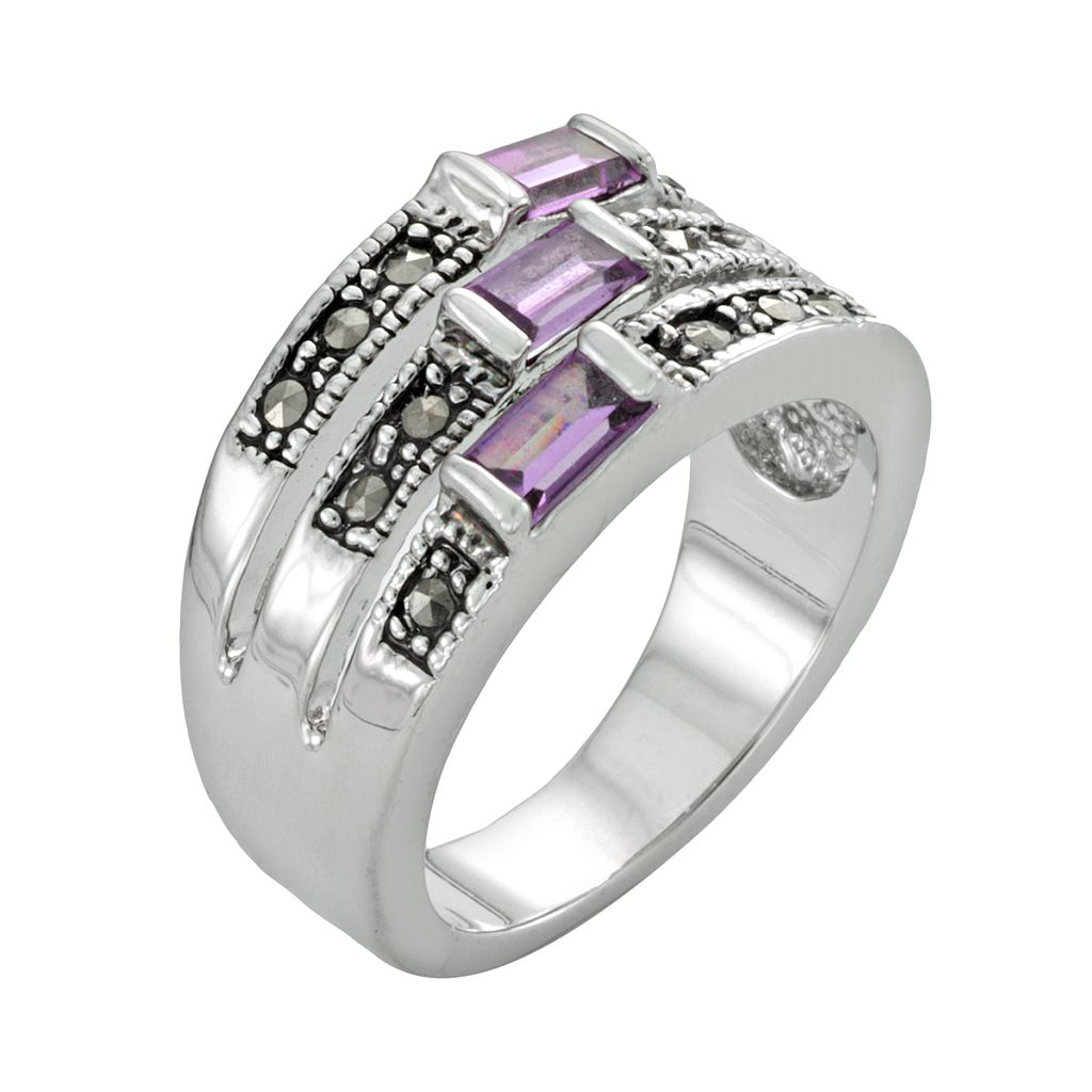 Silver Tone Simulated Amethyst & Marcasite Ring
