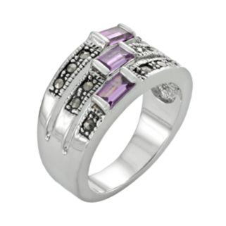 Silver Tone Simulated Amethyst and Marcasite Ring