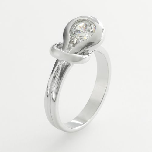 Silver Tone Cubic Zirconia Knot Ring