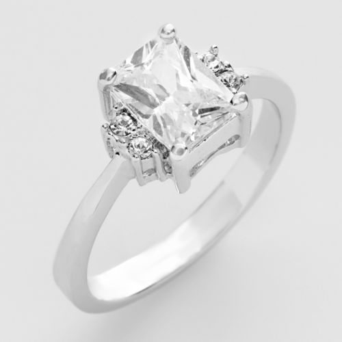 Silver Tone Cubic Zirconia Ring