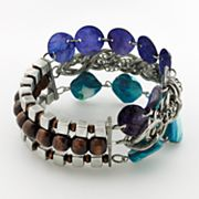 Silver Tone Bead Multistrand Stretch Bracelet - Plus