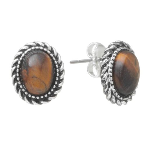 Chaps Silver-Tone Simulated Tiger's-Eye Stud Earrings