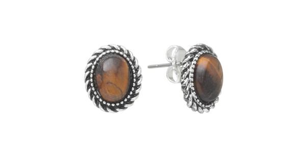 Chaps Silver Tone Simulated Tiger S Eye Stud Earrings