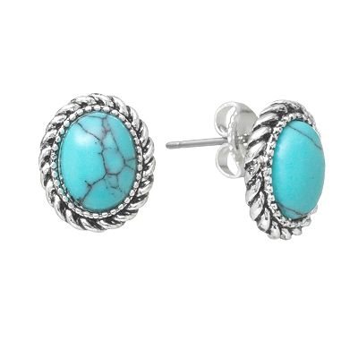 Chaps Silver-Tone Simulated Turquoise Stud Earrings