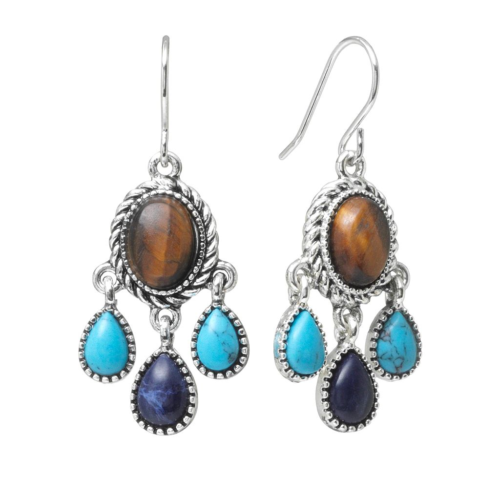 Chaps Silver-Tone Simulated Turquoise & Simulated Tiger's-Eye Chandelier Earrings