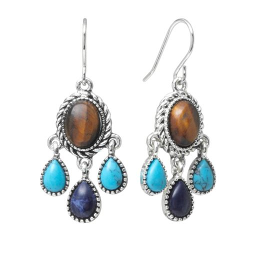 Chaps Silver-Tone Simulated Turquoise and Simulated Tiger's-Eye Chandelier Earrings